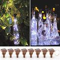 Solar Operated Wine Bottle Lights with Cork, 8 Pack White Wine Lights 20 LED Firefly String Lights for DIY Bottles Wedding Party Christmas Indoor Centerpieces (Solar Powered, Cool White)