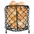 Natural Himalayan Salt Lamp Air Purifying Cylinder Mesh Basket With Salt Chunks, Bulb & Electric Wire