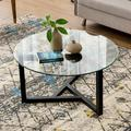 """Oak Glass Coffee Table, 35.4"""" Round Coffee Table with Sturdy Wood Base, Modern Cocktail Table with Tempered Glass Top, Round Center Table Sofa Table for Living Room, Easy Assembly, L2163"""