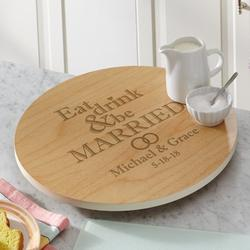 Personalized Eat, Drink & Be Married Lazy Susan - Natural
