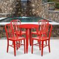 """Flash Furniture Commercial Grade 24"""" Round Red Metal Indoor-Outdoor Table Set with 4 Vertical Slat Back Chairs [CH-51080TH-4-18VRT-RED-GG]"""