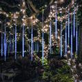 QISHI Falling Rain Lights Meteor Shower Lights Christmas Lights 50cm 10 Tube 540 LEDs, Falling Rain Drop Icicle String Lights for Christmas Trees Halloween Decoration Holiday Wedding (Blue)