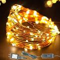 33' Ft 100 LED Warm White Fairy Lights Plug in with Timer - Outdoor Christmas Fairy Lights Copper Wire Plug in - LED String Lights Indoor Christmas Tree Lights Warm White Christmas Lights