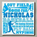 """Personalized Baseball Typography Canvas, 11"""" x 11"""""""