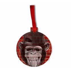 Punk Monkey Brick Wall Street Art Style Print Round - Shaped Flat Hardboard Christmas Holiday Ornament
