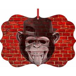 Punk Monkey Brick Wall Street Art Style Print - TM - Double-Sided Benelux Shaped High Gloss Hanging Holiday Ornament