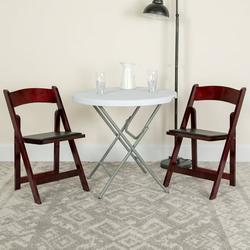Flash Furniture 4pk HERCULES Series Mahogany Wood Folding Chair with Vinyl Padded Seat