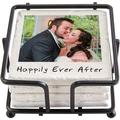 Personalized Memories Shared Photo Coasters w/Holder - Single Photo