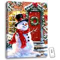 """White and Red Snowman LED Backlit Christmas Rectangular Wall Art with Remote Control 24"""" x 18"""""""