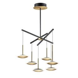 E21546-90BKGLD-ET2 Lighting-Saucer - 48W 6 LED Pendant - 28.5 Inches wide by 7.75 inches high