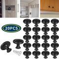 TSV 10/20pcs Kitchen Cabinet Door Drawer Knob Pulls, Black Kitchen Cabinet Knobs, 31mm/1.22in Round Drawer Handles for Kitchen Cabinet, Door, Drawer, Shoe Cabinet, Chest, Bookcase (with Screws)
