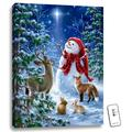 """24"""" x 18"""" White and Blue Christmas Snowmen Back-lit Wall Art with Remote Control"""
