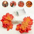 Led Fairy String Light, Fall Maple Leaves Light for Thanksgiving Halloween Christmas Wedding Party Festival Home Garland Tree Indoor Outdoor Decoration, 20 LEDs, 6.7 Feet, 3AA Battery Operated