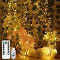 2M 200 LED Firecracker Lights String USB 8 Lighting Modes Waterproof Outdoor Decoration Wedding Christmas (Warm White)