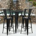 """Flash Furniture Commercial Grade 24"""" Round Black Metal Indoor-Outdoor Bar Table Set with 4 Cafe Stools [CH-51080BH-4-30CAFE-BK-GG]"""