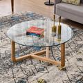 """Espresso Glass Coffee Table, 35.4"""" Round Coffee Table with Sturdy Wood Base, Modern Cocktail Table with Tempered Glass Top, Round Center Table Sofa Table for Living Room, Easy Assembly, L2164"""