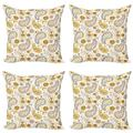Sunflower Throw Pillow Cushion Case Pack of 4, Floral Pattern with Sunflowers and Paisley Vintage Boho, Modern Accent Double-Sided Print, 4 Sizes, Orange Yellow White, by Ambesonne