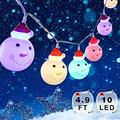 Snowman Christmas Lights, Xmas String Lights Waterproof 4.9 ft 10 LEDs, Fairy Strings Battery Operated Indoor Outdoor, DIY Lights Decorations for Home, Garden, Patio Festival Party (Multicolor)