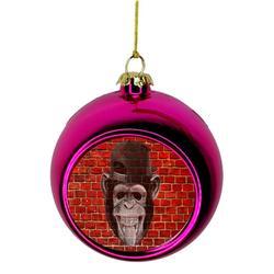 Ornaments Funny Monkey Punk on Brick Wall Graffiti Street Art Print Design Bauble Christmas Ornaments Pink Bauble Tree Xmas Balls