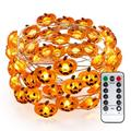 Pumpkin Halloween String Lights, 40 LED 13.12ft 8 Modes Battery Powered Fairy Lights with Remote & Timer, Flexible Copper Wire Jack-O-Lantern Lights for Halloween Party Decorations, Warm White