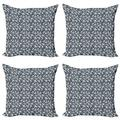 Geometric Throw Pillow Cushion Case Pack of 4, Abstract Polygonal Design Triangular Shapes with Lines Contemporary, Modern Accent Double-Sided Print, 4 Sizes, Dark Blue Grey and White, by Ambesonne