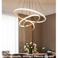 Modern 3 Rings Acrylic Chandelier,Creative LED 76w Pendant Light Round Circular Chandelier Decoratible Ceiling Light Height Adjustable Light Fixture for Living Room Bedroom Hallway