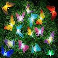 LED String Lights, 20Pcs Multi-Color LED Fiber Optic Butterfly Lights, 16ft Length, Solar-Powered Fairy Lights, Waterproof LED Strand Lights for Garden, Christmas,Outdoor Lighting Decorations