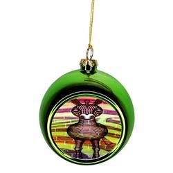Zebra Brick Wall Street Art Print Design Ornaments Green Bauble Christmas Ornament Balls