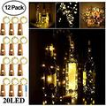 Wine Bottle Lights with Cork - Silver Wire Cork Lights for Bottle 12 Pack 6.5ft 20 LED Bottle Lights Battery Powered Christmas String Lights for Party Halloween Wedding Christmas (Warm White)