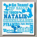 """Personalized Cheerleader Typography Canvas, 11"""" x 11"""""""