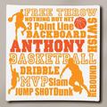 """Personalized Basketball Typography Canvas, 11"""" x 11"""""""