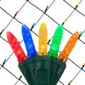 Wintergreen Lighting 4' x 6' Multi Color LED Outdoor Christmas Net Lights Set, 100 Lights, Green Wire