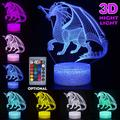 Creative 3D Dinosaur LED Table Lamp Desk Night Light USB 3D LED Lights with Touch Switch 7 Color for Home Decor Gift
