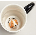Surprise Dog Coffee Mug with Small Puppy Inside White and Black - 10 Oz by Treasure Gates