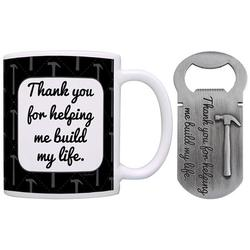 Christmas Gifts for Dad Grandpa Uncle Thank You for Helping Me Build My Life Gift Coffee Mug & Pewter Magnetic Bottle Opener Bundle