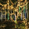 UpgradedFalling Rain Lights Meteor Shower Lights Christmas Lights 50cm 10 Tube 540 LEDs, Falling Rain Drop Icicle String Lights for Christmas Trees Halloween Decoration Holiday Wedding (Multi Color)