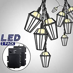 Outdoor String Lights Battery Powered 10 LED String Lights Waterproof Battery Operated String Lights Halloween Decor Plastic Cage String Lights For Christmas Patio Party Holiday(10 ft WarmWhite 2pack)