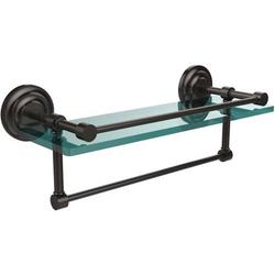 16-in Gallery Glass Shelf with Towel Bar in Oil Rubbed Bronze