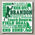 """Personalized Football Typography Canvas, 11"""" x 11"""""""