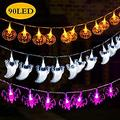 Halloween Decoration Lights Halloween String Lights,Set of 3 Battery Operated Fairy Lights 12ft Pumpkin Bat Ghost String Lights with 30 LED Each for Indoor/Outdoor Halloween, Party