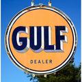 Antique Gulf Oil Sign Gasoline Rustic Fuel Old-20 Inch By 30 Inch Laminated Poster With Bright Colors And Vivid Imagery-Fits Perfectly In Many Attractive Frames