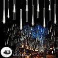 Rain Drop Lights 30cm 8 Tubes 144 LED Meteor Shower Lights UL Listed Falling Rain Lights Outdoor Icicle Snow Cascading Christmas String Lights for Tree Wedding Party Garden Decoration, White