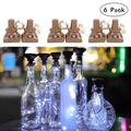 Solar Powered Wine Bottle Lights, 6 Packs of 20 LED Waterproof Square Cork Lights Fairy Lights Birthday Party, Christmas, Outdoor, Holiday, Garden, Courtyard Passage Decoration (White)