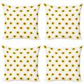 Sunflower Throw Pillow Cushion Case Pack of 4, Sunflower Pattern on a White Background Vibrant Nature Elements Simple Seasonal Art, Modern Accent Double-Sided Print, 4 Sizes, Yellow, by Ambesonne