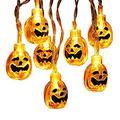 Halloween Lights, 30 LED 11.48ft 3D Pumpkin Lights Jack-O-Lantern Halloween String Light, Steady/Flashing Battery Pumpkin String Light for Halloween, Party and Christmas Decoration, Warm White