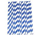 100 Pcs Biodegradable Paper Straws Stripe Paper Drinking Straws Bulk Paper Straws for Juices, Shakes, Smoothies, Party Supplies Decorations, Blue 6 MM