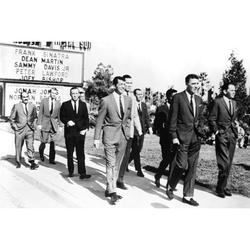 Frank Sinatra and Dean Martin and Peter Lawford and Sammy Davis Jr. in Ocean's Eleven classic walking by The Sands Casino sign Las Vegas 24x36 Poster