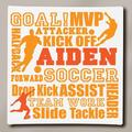 """Personalized Soccer Typography Canvas, 16"""" x 16"""""""