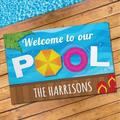 Personalized Welcome To Our Pool Oversized Doormat