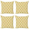 Sunflower Throw Pillow Cushion Case Pack of 4, Sunflowers Pattern Autumn Season Country Style Retro Illustration Print, Modern Accent Double-Sided Print, 4 Sizes, Yellow White Green, by Ambesonne